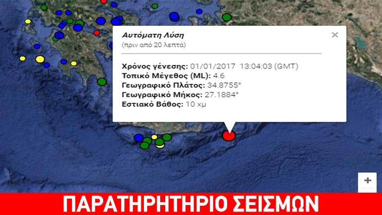 Σεισμός 4,6 Ρίχτερ νότια της Καρπάθου
