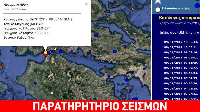 Σεισμός 4,6R στον Πατραϊκό κόλπο
