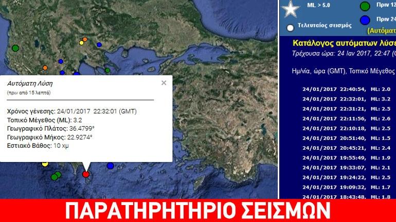 Ασθενής σεισμός 3,1R στην Πελοπόννησο