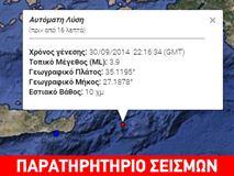 Σεισμός 3,9R νότια της Καρπάθου