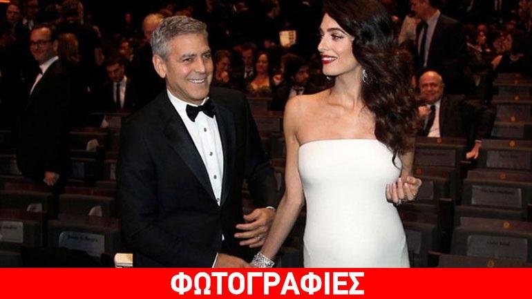 Απαστράπτουσα η εγκυμονούσα Amal Alamuddin στο πλευρό του George Clooney