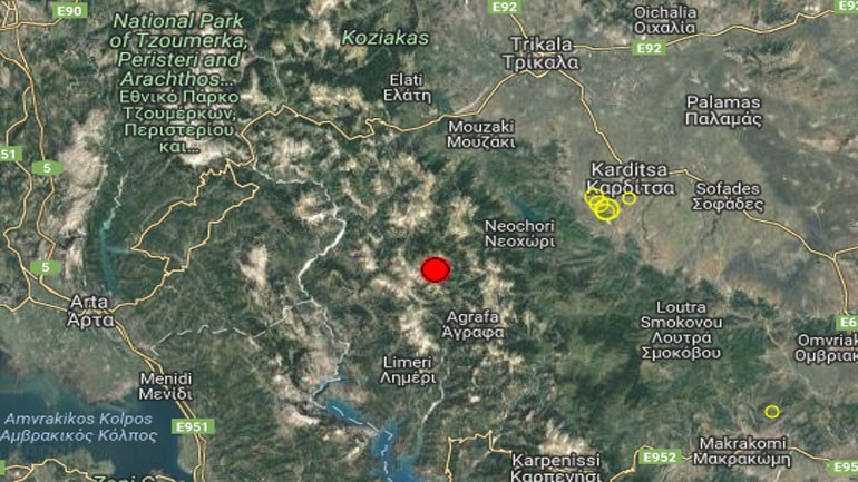 Αισθητή σεισμική δόνηση μεγέθους 4,7 Ρίχτερ βόρεια του Καρπενησίου