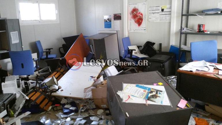 Μεγάλες ζημιές προκάλεσαν οι μετανάστες στο Hotspot της Μόριας