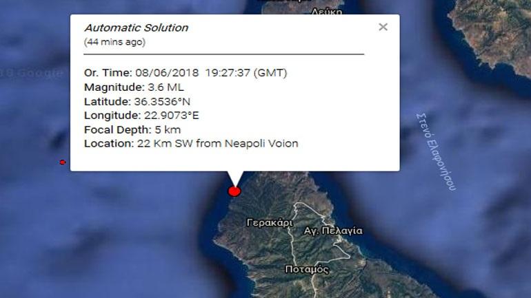 Σεισμική δόνηση 3,6R νοτιοδυτικά της Νεάπολης Λακωνίας