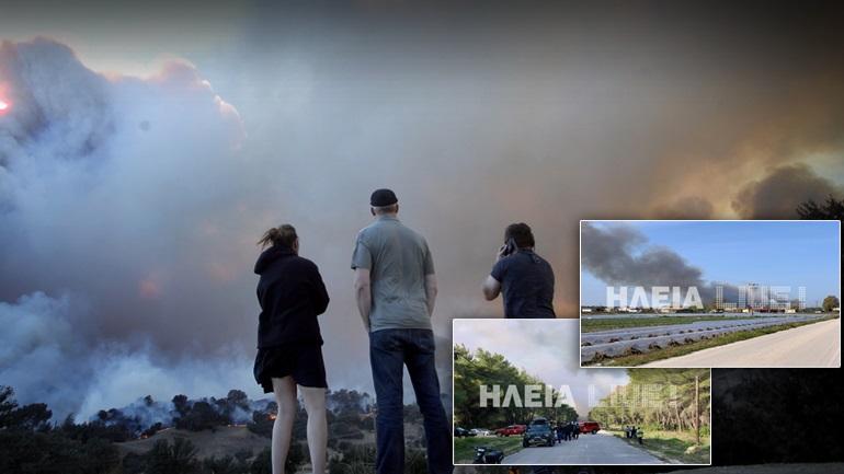 Μεγάλη πυρκαγιά στο δάσος της Στροφυλιάς στην Ηλεία