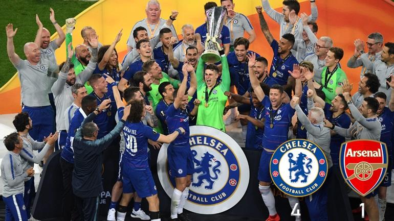 Το τρόπαιο του Europa League βάφτηκε... μπλε!