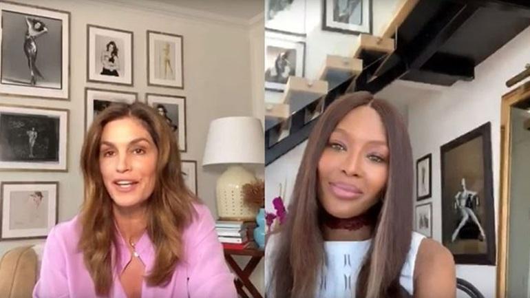 Naomi Campbell και Cindy Crawford μιλούν για τη ζωή στην καραντίνα από το σπίτι τους