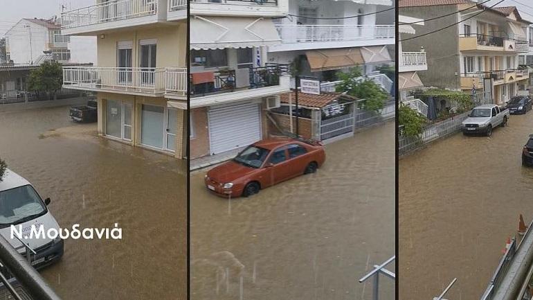 Χαλκιδική: Ποτάμια οι δρόμοι από την κακοκαιρία