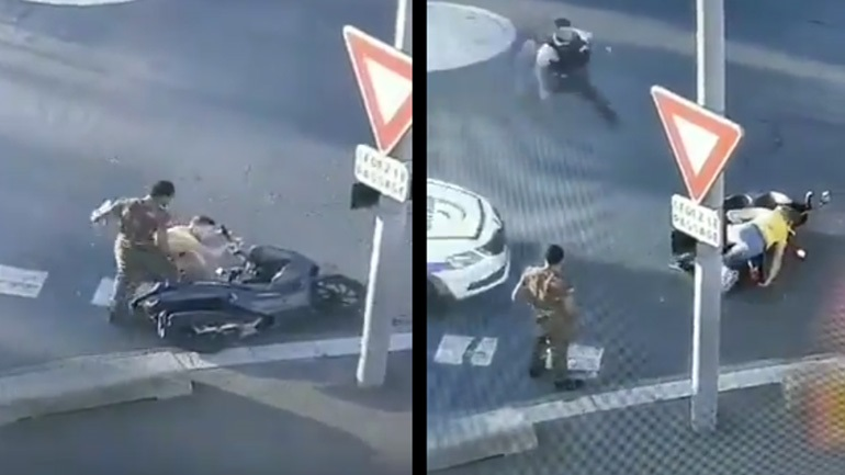 Μεθυσμένος πέφτει με το σκούτερ μπροστά σε αστυνομικό τμήμα