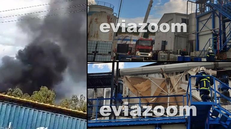 Κατασβέστηκε η φωτιά σε εργοστάσιο χημικών στην Αυλίδα Ευβοίας