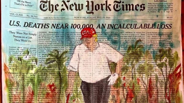 Ζωγράφισαν στους N.Y. Times με τα ονόματα νεκρών από τον ιό, τον Τραμπ να παίζει γκολφ