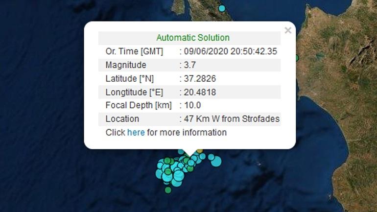Σεισμός 3,7 Ρίχτερ νότια της Ζακύνθου