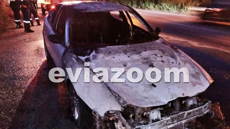 Πύρινος εφιάλτης για οδηγό στη Χαλκίδα: Το αυτοκίνητο πήρε φωτιά εν κινήσει