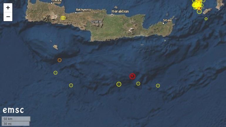 Σεισμός 4,6 Ρίχτερ νοτίως της Κρήτης