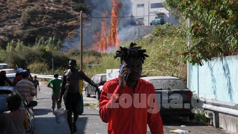 Μυτιλήνη: Φωτιά κοντά στον αστυνομικό κλοίο στο Καρά Τεπέ