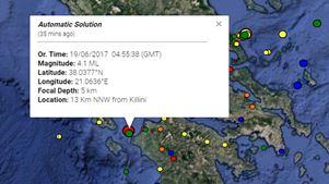 Σεισμός 4,1R ανοιχτά της Κυλλήνης
