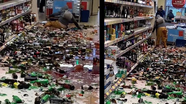 Γυναίκα σπάει εκατοντάδες μπουκάλια σε ένα κατάστημα