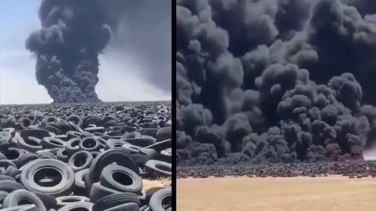 Το μεγαλύτερο «νεκροταφείο» ελαστικών στον κόσμο φλέγεται στο Κουβέιτ