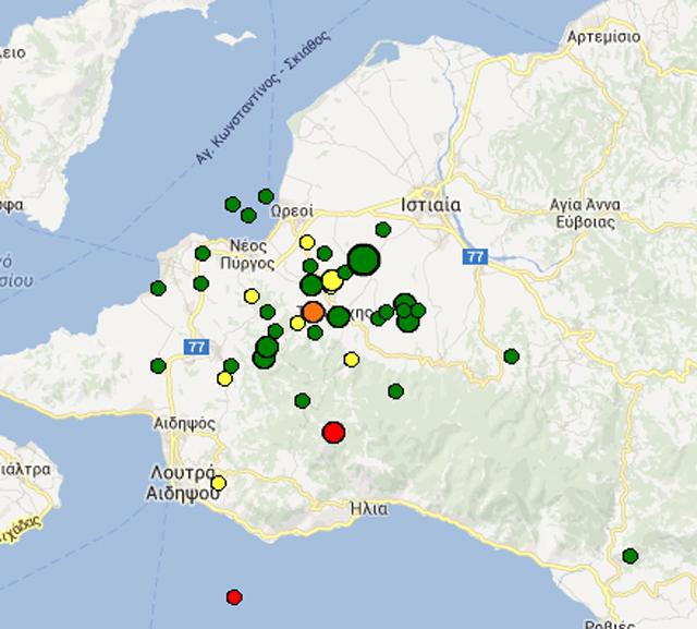 Οι σεισμικές δονήσεις που έχουν καταγραφεί μέχρι αυτή την ώρα στην περιοχή