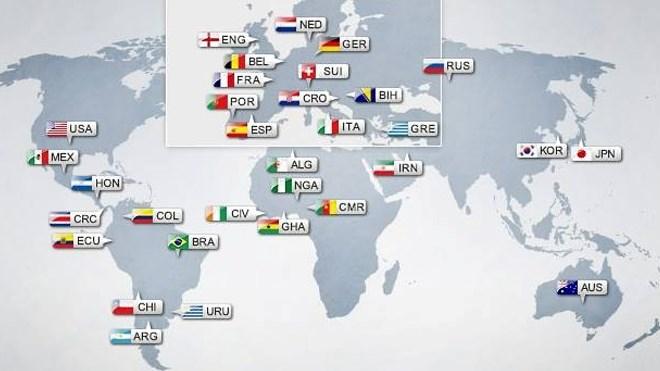 Ο χάρτης του Παγκοσμίου Κυπέλλου