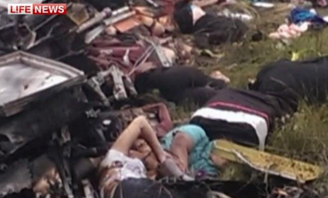 Σοκαριστικές εικόνες που μεταδίδονται από ρωσικά μέσα ενημέρωσης με τα πτώματα των επιβατών