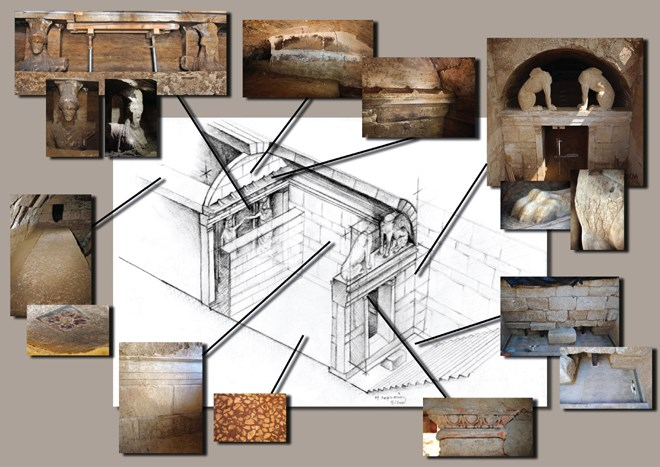 Αξονομετρική σχεδιαστική αναπαράσταση του ταφικού μνημείου