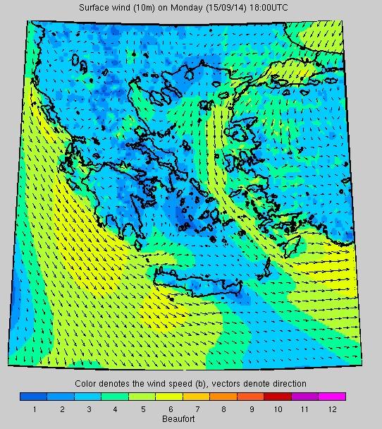 Σύστημα «Ποσειδών»: Η ταχύτητα των ανέμων στις 18.00 το απόγευμα της Δευτέρας