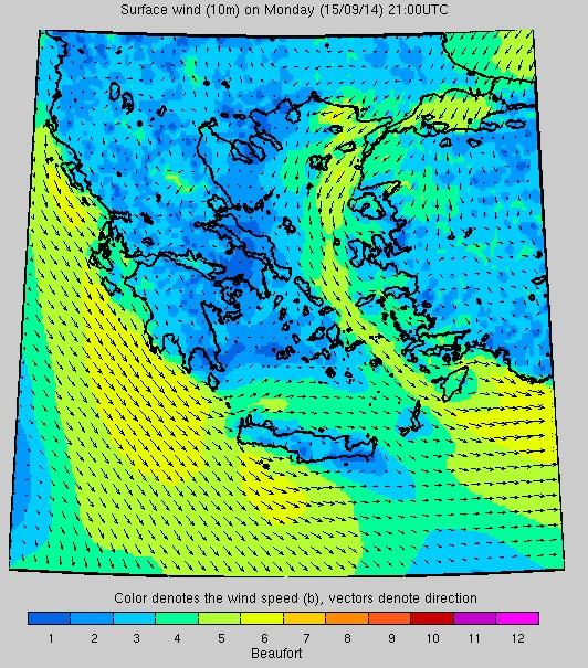 Σύστημα «Ποσειδών»: Η ταχύτητα των ανέμων στις 21.00 το βράδυ της Δευτέρας