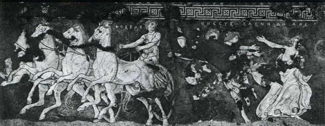 Ψηφιδωτό δάπεδο του σπιτιού της αρπαγής της Ελένης από τον Θησέα με τη βοήθεια του Φόρβα. Πέλλα, 325-300 π.Χ.
