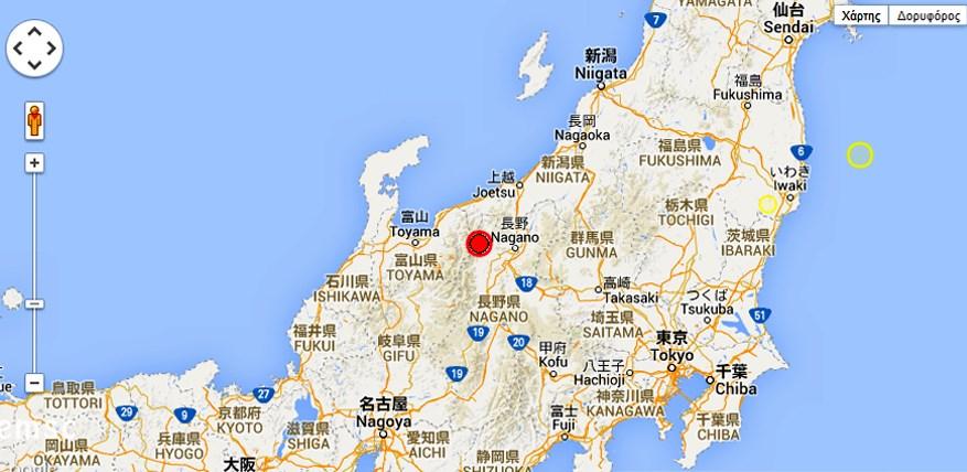 Χάρτης με το επίκεντρο του σεισμού
