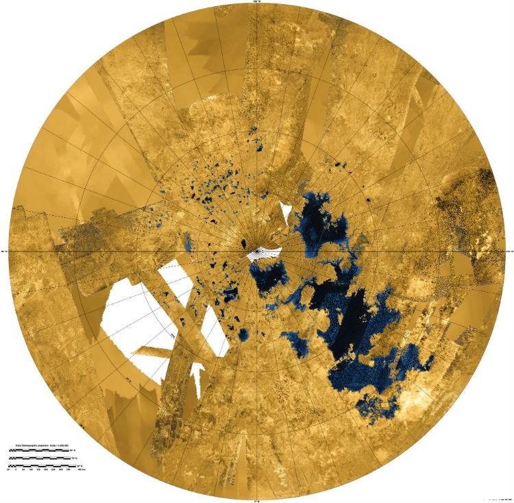 Λίμνες υδρογονανθράκων στον νότιο πόλο Τιτάνα (NASA/JPL-Caltech/ASI/USGS)