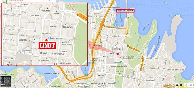 Χάρτης με το καφέ «Lidht» - Σε κόκκινο πλαίσιο η Όπερα του Σύδνεϋ