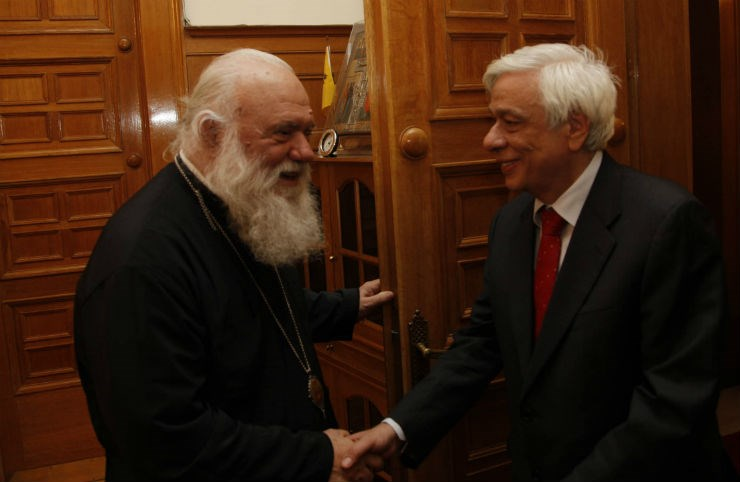 Με τον Αρχιεπίσκοπο Ιερώνυμο, πριν από τις εκλογές του 2012