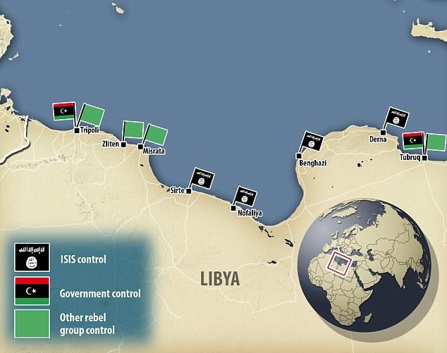 Περιοχές στη Λιβύη που ελέγχονται πλήρως από το Ισλαμικό Χαλιφάτο