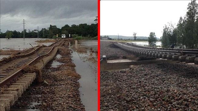 Τα ορμητικά νερά προκάλεσαν ζημιές στο τοπικό σιδηροδρομικό δίκτυο