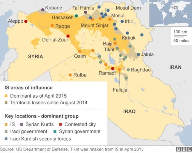 Χάρτης με τα εδάφη που έχει καταλάβει το Ισλαμικό Χαλιφάτο σε Συρία - Ιράκ