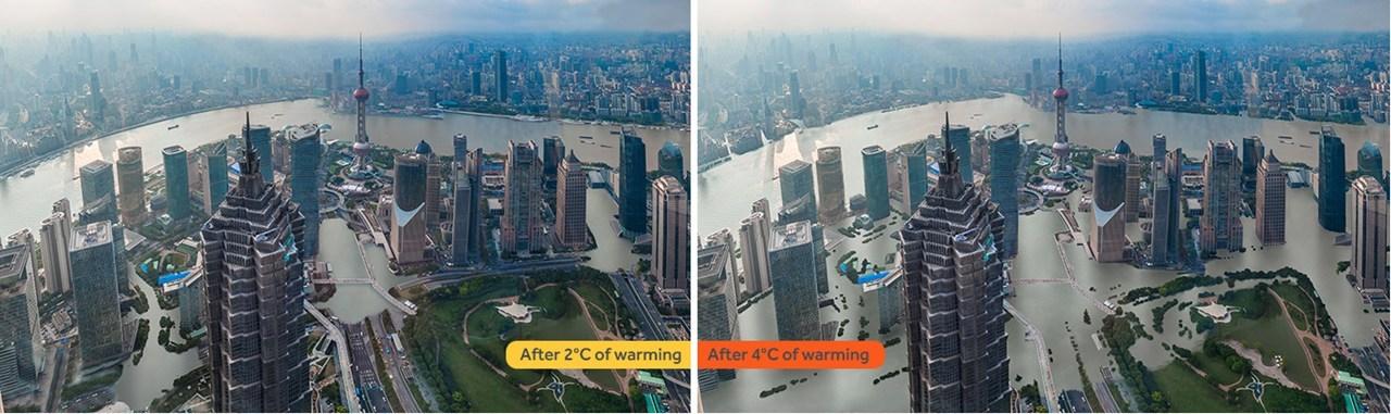Η αλλαγή της στάθμης του νερού στη Σαγκάη