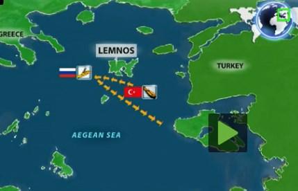O χάρτης της περιοχής στο Αιγαίο