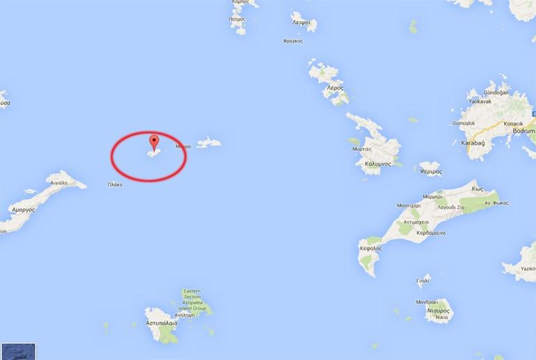Η νήσος Κίναρος όπου εμφανίζεται  το τελευταίο στίγμα του ελικοπτέρου