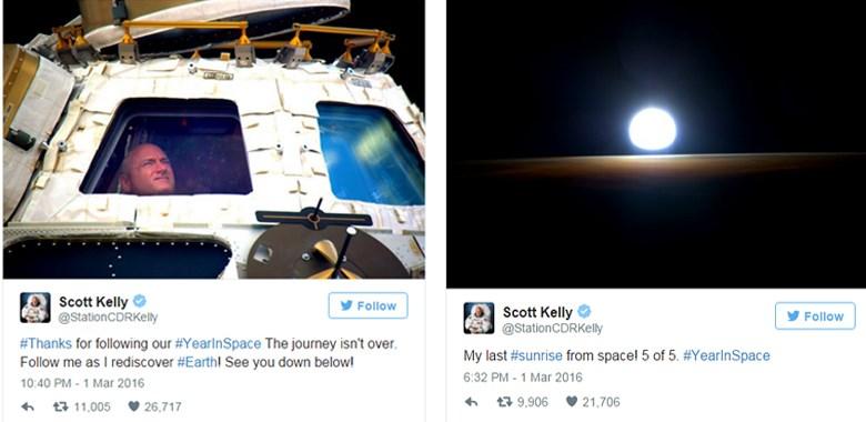Τα μηνύματα του Σκοτ Κέλι στο Twitter λίγο πριν από την επιστροφή του στη Γη