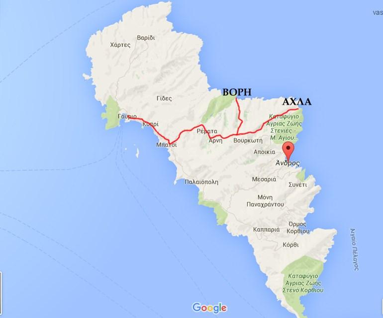 Ο χάρτης της Άνδρου και οι παραλίες που επισκεφτήκαμε...