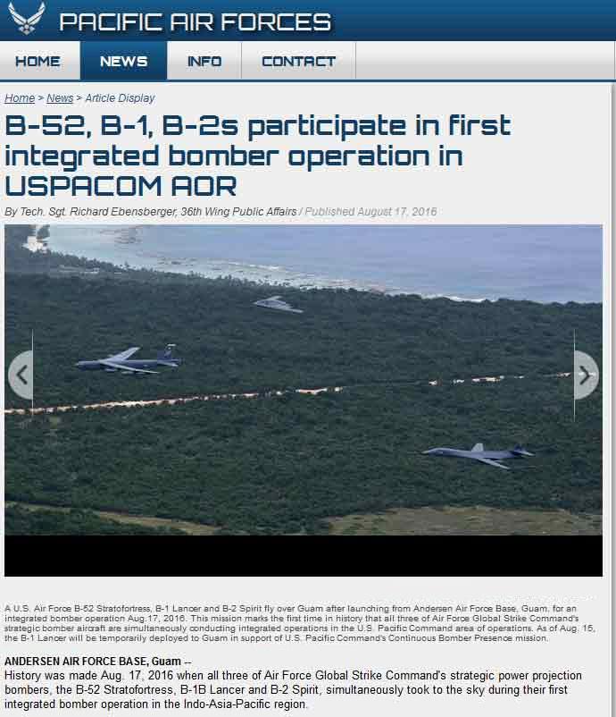 Το σχετικό δημοσίευμα στην ιστοσελίδα της στη διοίκησης Ειρηνικού της αμερικανικής πολεμικής αεροπορίας