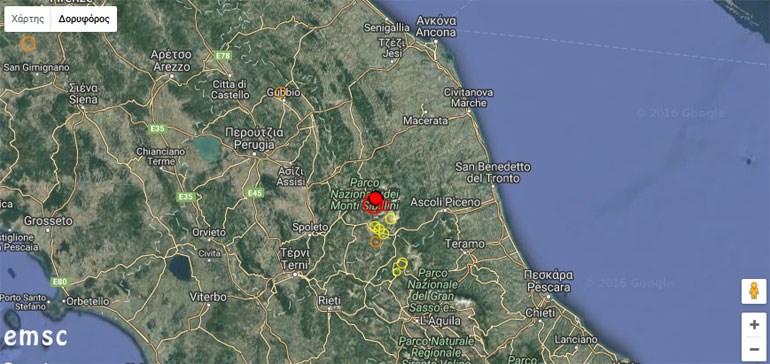 Το επίκεντρο του πρώτου σεισμού