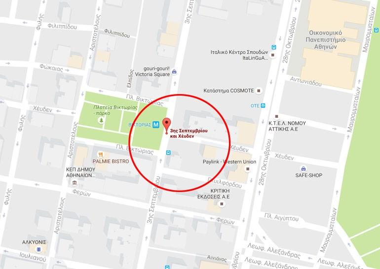 Χάρτης με το σημείο της έκρηξης
