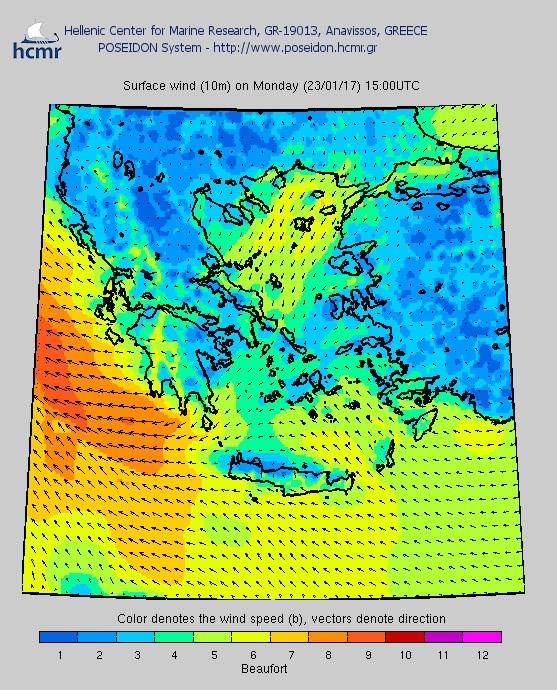 Το χρώμα δηλώνει την ένταση του ανέμου στην κλίμακα Μποφόρ (Δευτέρα βράδυ)