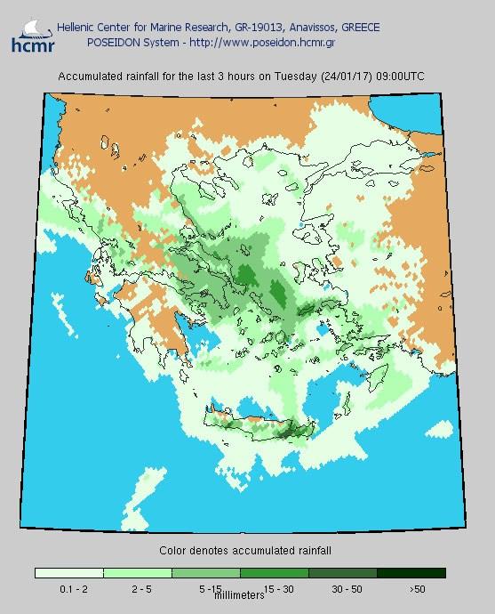 Το χρώμα δηλώνει το αθροιστικό ύψος της βροχόπτωσης το τελευταίο 3ωρο (πρωί Τρίτης)