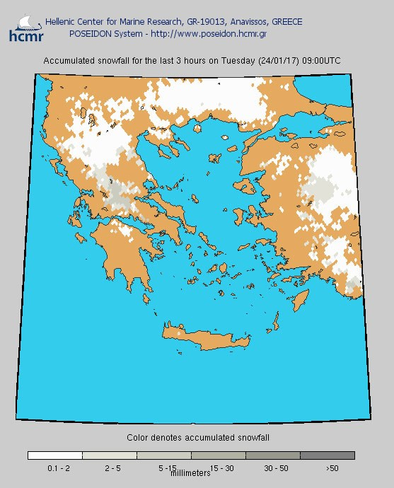 Το χρώμα δηλώνει το αθροιστικό ύψος της χιονόπτωσης το τελευταίο 3ωρο (πρωί Τρίτης)