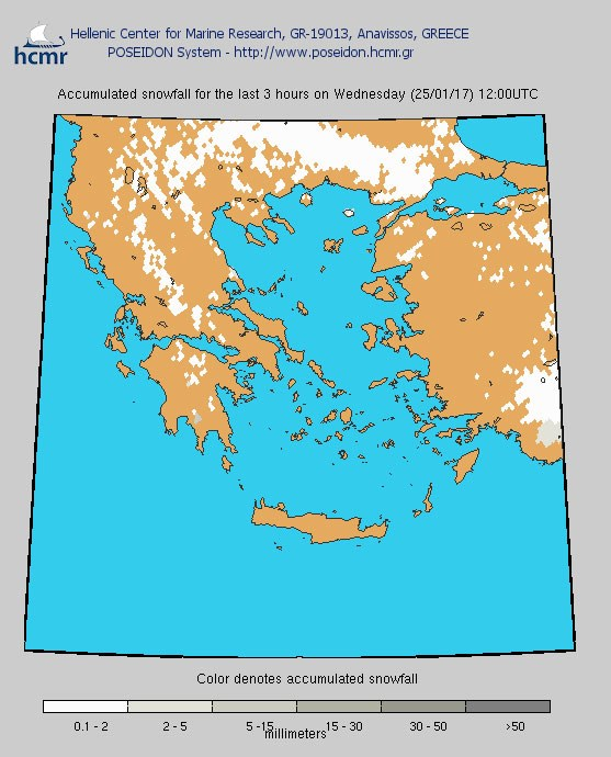 Το χρώμα δηλώνει το αθροιστικό ύψος της χιονόπτωσης το τελευταίο 3ωρο (μεσημέρι Τετάρτης)