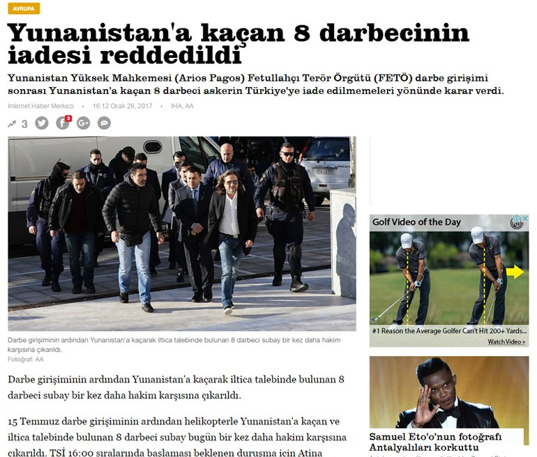 Yeni Şafak: Απορρίφθηκε στην Ελλάδα η επιστροφή των οκτώ πραξικοπηματιών