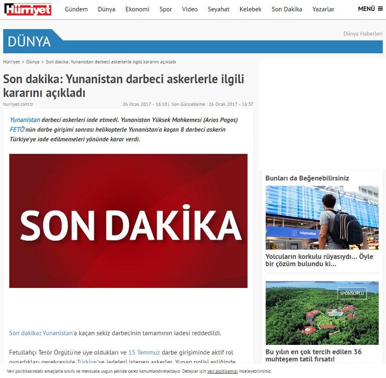 Hürriyet: Η Ελλάδα ανακοίνωσε την απόφασή της σχετικά με το στρατιωτικό πραξικόπημα